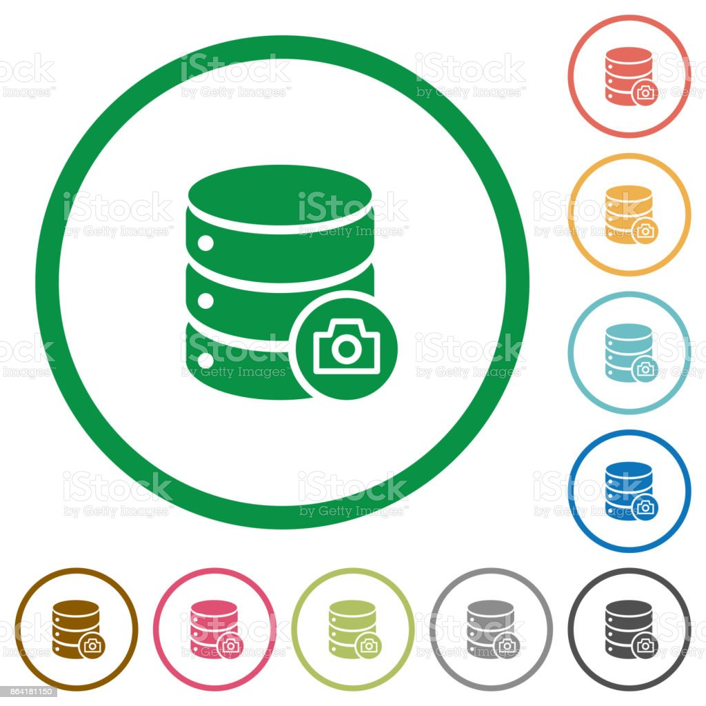 Database snapshot flat icons with outlines royalty-free database snapshot flat icons with outlines stock vector art & more images of applying