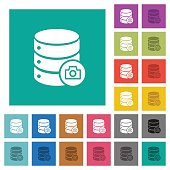 Database snapshot square flat multi colored icons