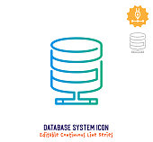 istock Database System Continuous Line Editable Icon 1250124515