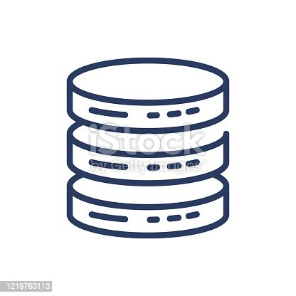 Database thin line icon. Server, storage, disk, hardware, big data isolated outline sign. Computer technology concept. Vector illustration symbol element for web design and apps