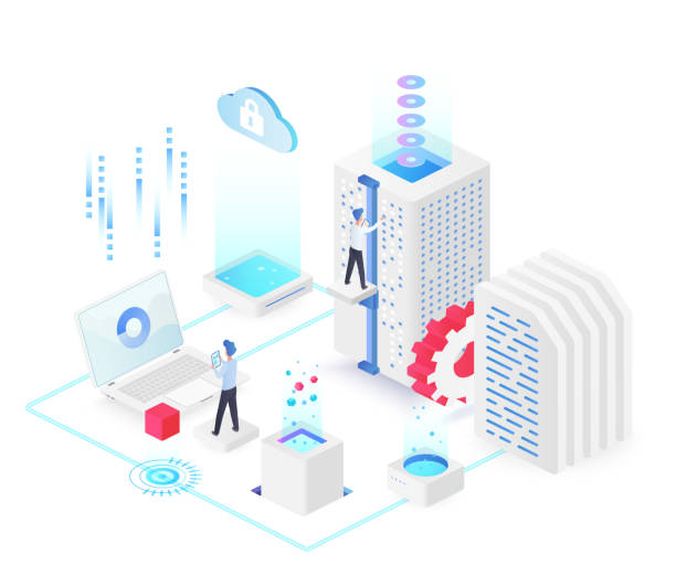 Database white isometric vector illustration Database white isometric vector illustration. Electronic maintenance team. Service hardware administration group. Futuristic cyberspace technology. Cloud datacenter cartoon conceptual design element administrate stock illustrations