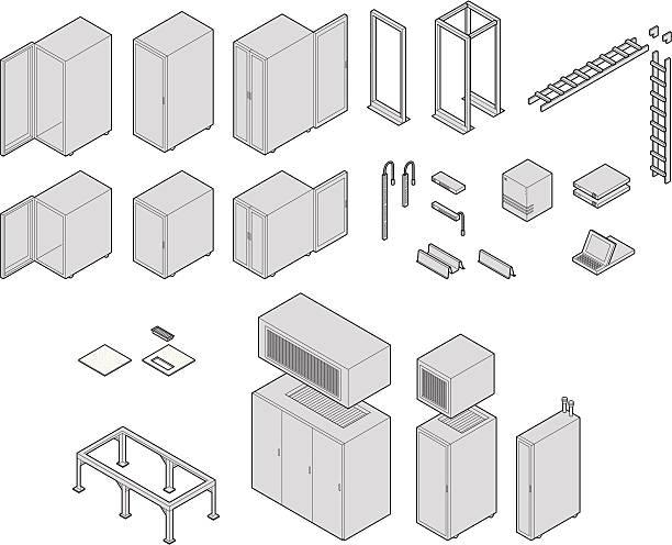 rechenzentrum ausstattung - kastenständer stock-grafiken, -clipart, -cartoons und -symbole