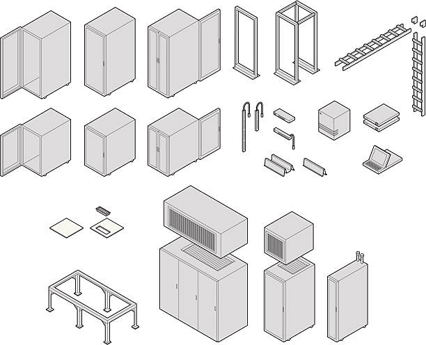 Datacenter Equipment vector art illustration