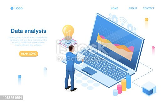 Date Analysis Concept. A man stands in a data center and reads a report. Tracking indicators on laptop screen Computer storage Database. Perfect for landing, web, banner
