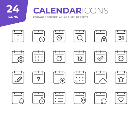 24 Calendar Outline Icons - Adjust stroke weight - Easy to edit and customize
