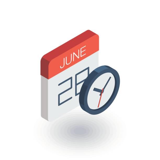 ilustraciones, imágenes clip art, dibujos animados e iconos de stock de fecha y hora, calendario y reloj icono de plano isométrico. vector 3d - calendario de naturaleza
