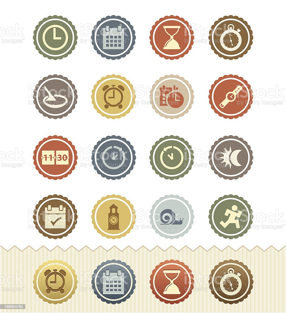 Date and Time Icons : Vintage Badge Series vector art illustration