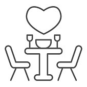 istock Date at a restaurant thin line icon, valentine day concept, set table with chairs and heart sign on white background, romantic evening icon in outline style for mobile concept. Vector graphics. 1287530205
