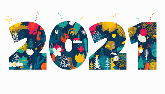 2021 Date Illustrated Greeting Concept