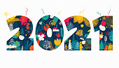 Happy New Year 2021 illustrated number concept with hand drawn elements.