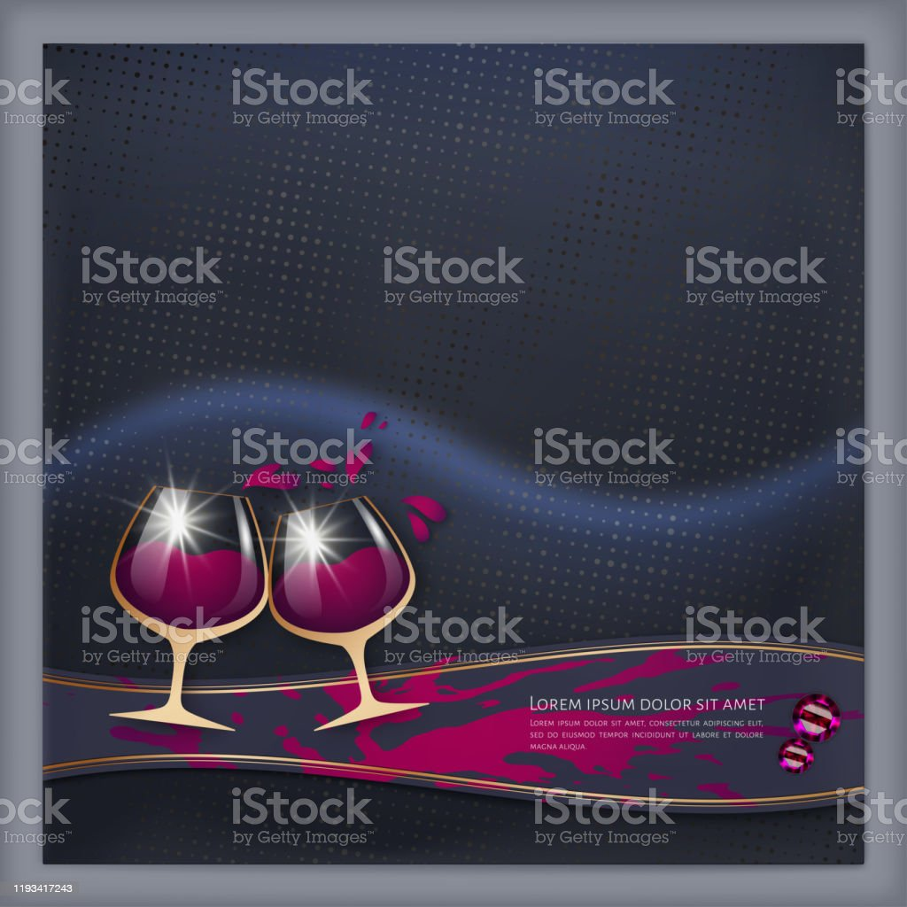Date Invitation Card With Red Wine Glass Romantic Greeting