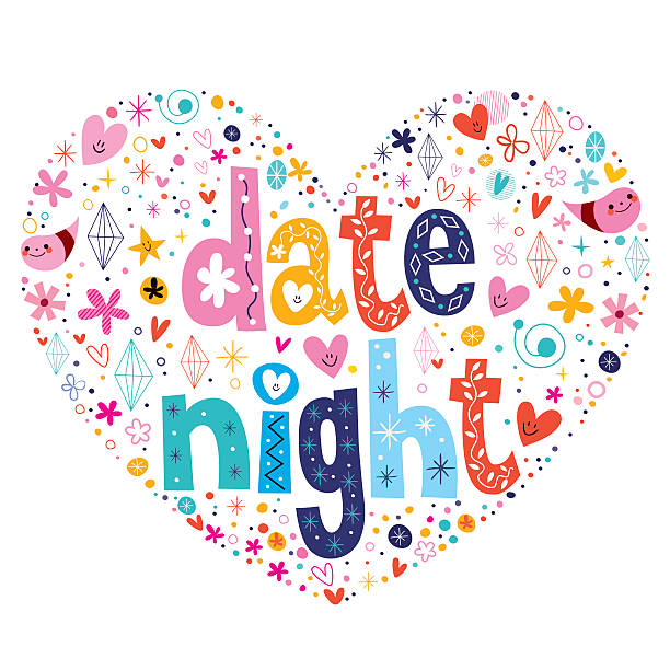 date night heart shaped typography lettering design - date night stock illustrations