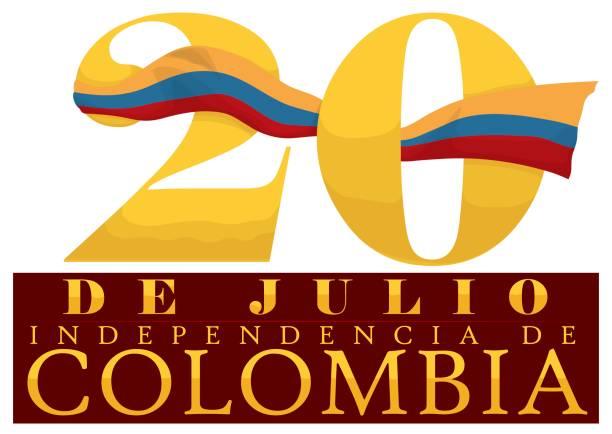 bildbanksillustrationer, clip art samt tecknat material och ikoner med datum antal med colombianska flagga och tecken för självständighetsdagen - blue yellow band