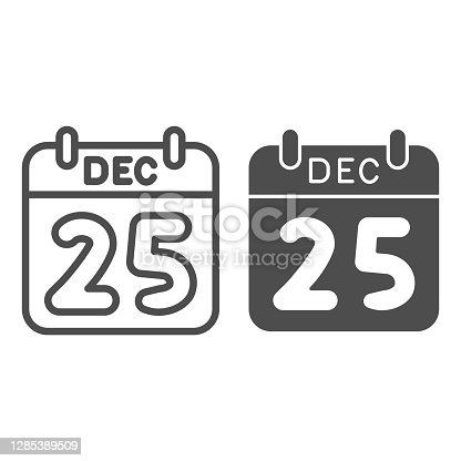istock Date of christmas line and solid icon, Christmas concept, winter holiday Calendar sign on white background, twenty fifth of December icon in outline style for mobile concept. Vector graphics. 1285389509