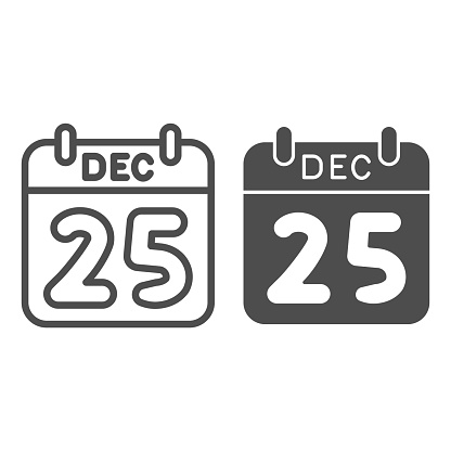 Date of christmas line and solid icon, Christmas concept, winter holiday Calendar sign on white background, twenty fifth of December icon in outline style for mobile concept. Vector graphics.