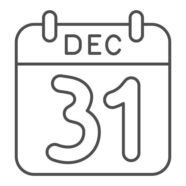 Date of New Year thin line icon, winter holiday calendar concept, New Year sign on white background, thirty first of December icon in outline style for mobile concept. Vector graphics. Date of New Year thin line icon, winter holiday calendar concept, New Year sign on white background, thirty first of December icon in outline style for mobile concept. Vector graphics holiday calendars stock illustrations