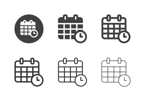 Date Time Icons - Multi Series vector art illustration