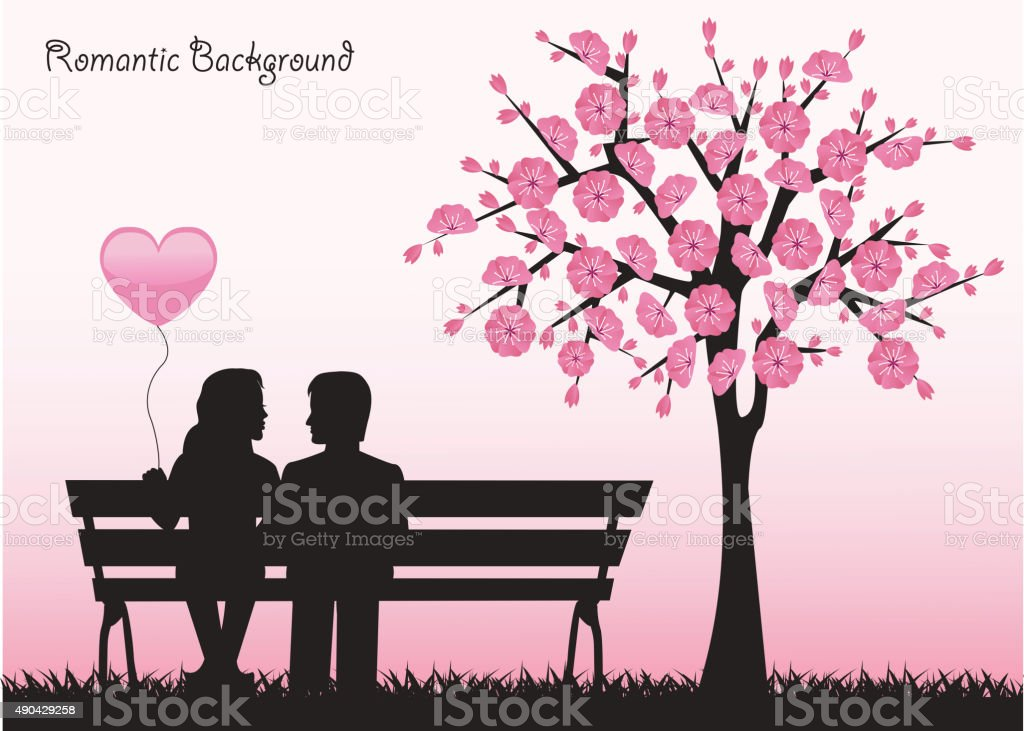 date under the cherry tree vector art illustration