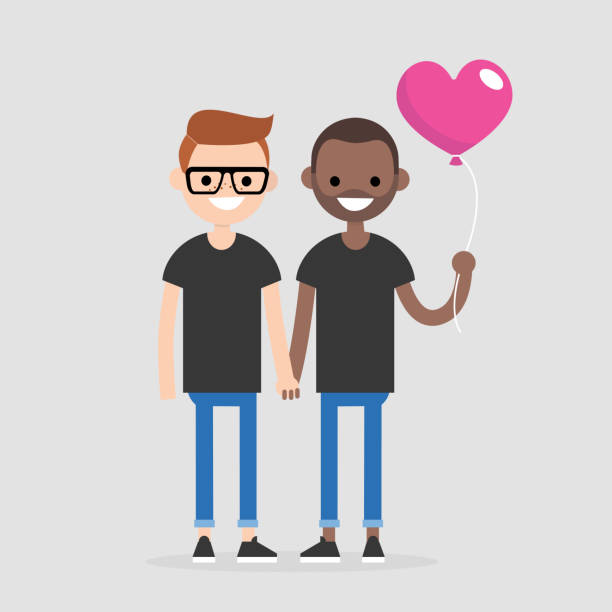 illustrazioni stock, clip art, cartoni animati e icone di tendenza di date. young couple celebrating saint valentines day. romantic relationships. flat editable vector illustration, clip art - coppia gay