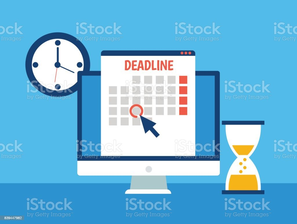 Dates and Deadlines banner. Computer with calendar, clock and hourglass vector art illustration
