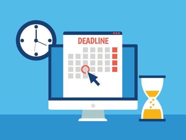 Dates and Deadlines banner. Computer with calendar, clock and hourglass Dates and Deadlines banner. Computer with calendar, clock and hourglass. Vector flat illustration deadline stock illustrations