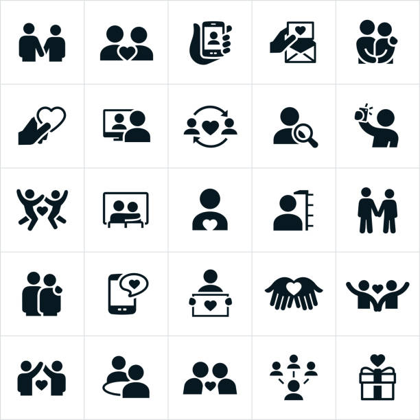Dating and Couples Relationships Icons A set of icons depicting dating and couples in love. The icons depict several situations with couples holding hands, holding each other, showing affection, finding love and being together. online dating stock illustrations