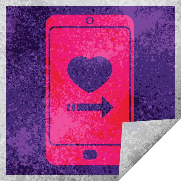 dating app on cell phone square peeling sticker vector art illustration