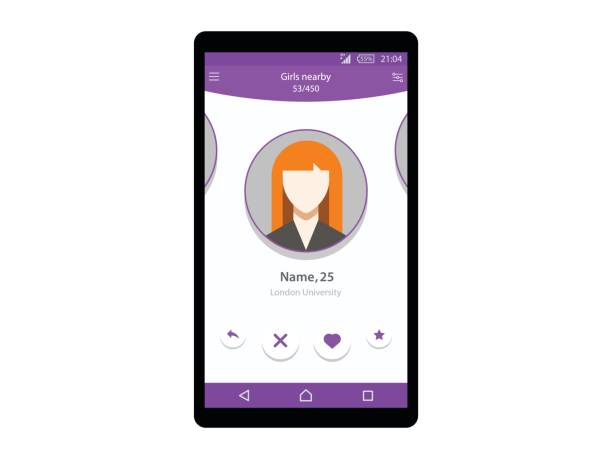 Dating app on mobile phone concept interface vector illustration eps 10 romance stock illustrations