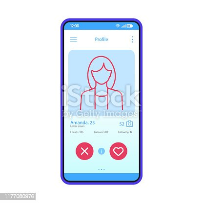 istock Dating app profile interface vector template 1177080976