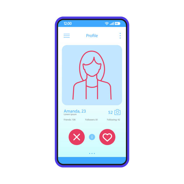 Dating app profile interface vector template Dating app profile interface vector template. Mobile app interface blue design layout. Online dating smartphone application. Flat UI. Phone display with woman's profile information romance stock illustrations