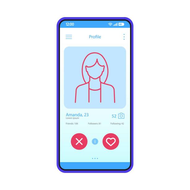 stockillustraties, clipart, cartoons en iconen met dating app profiel interface vector template - date