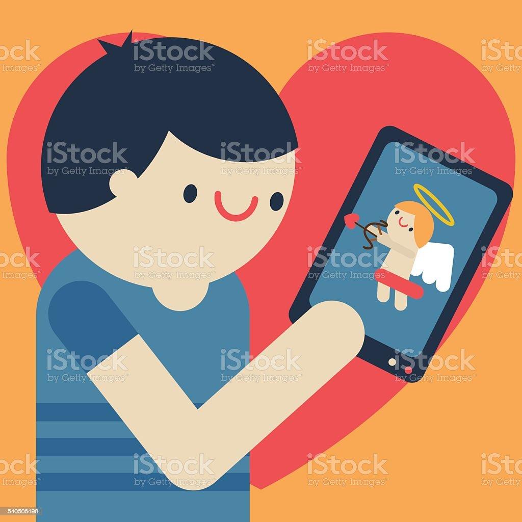 Dating App vector art illustration
