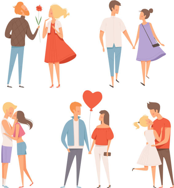 dating couples. st valentine day 14 february happiness hugging romantic lovers characters vector date concept pictures - couple stock illustrations
