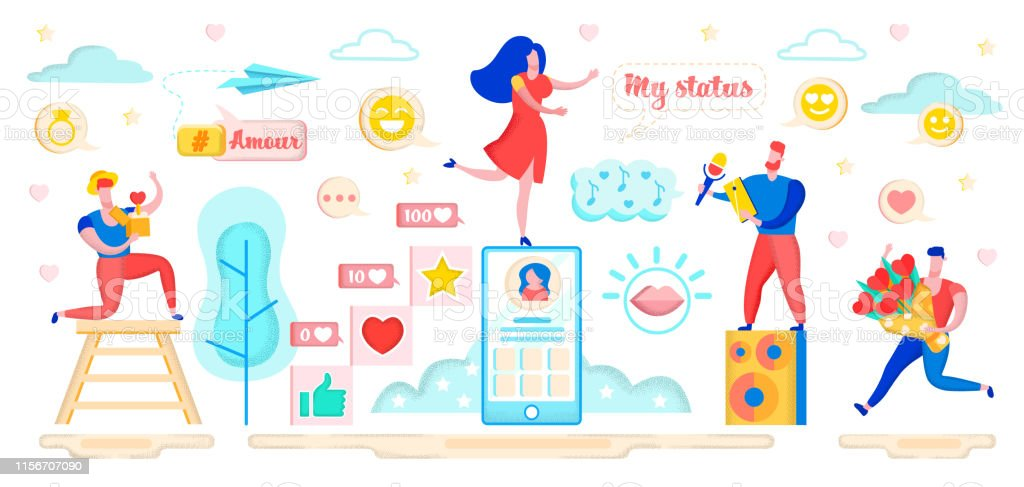 Dating in Social Networking Sites Flat Cartoon Banner Vector...