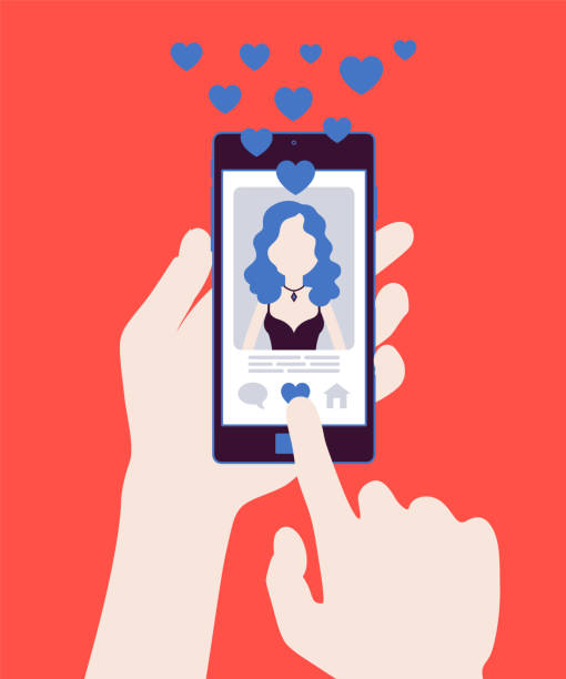 Dating mobile application with female profile on smartphone screen Dating mobile application with female profile on smartphone screen. Online app for singles to find match, social network service to connect, meet life partner. Vector illustration, faceless character online dating stock illustrations