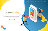 Dating scams landing page website template. Vector isometric illustration. Online dating fraud concept.