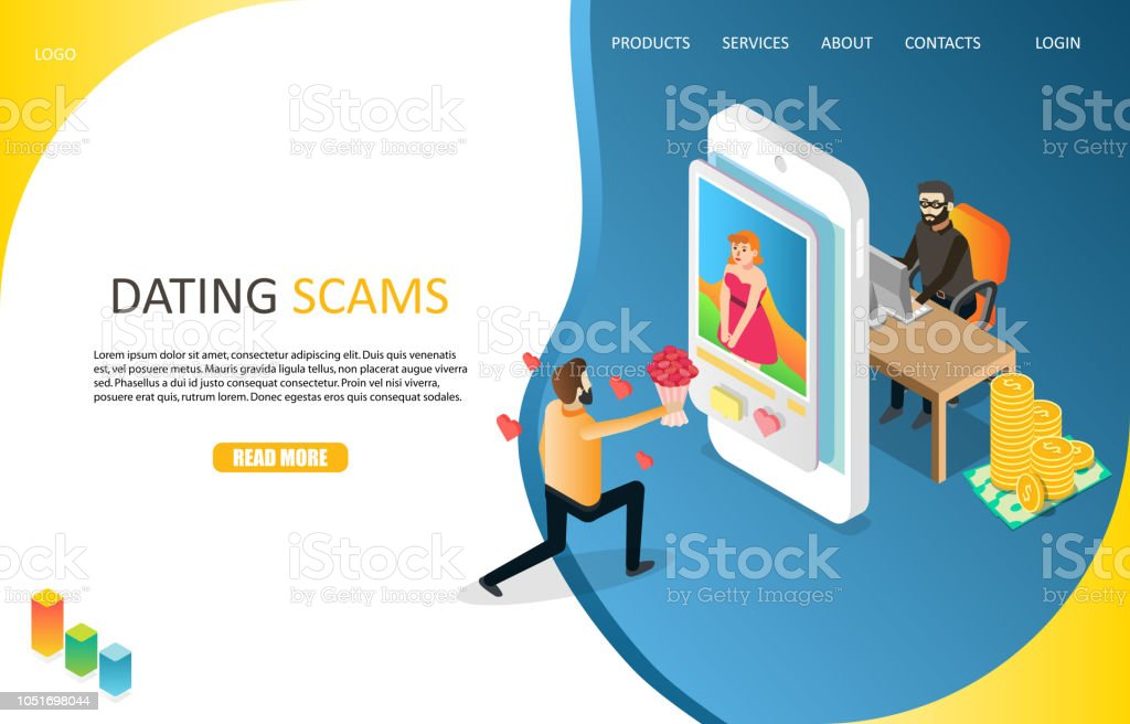 Dating scams landing page website vector template vector art illustration
