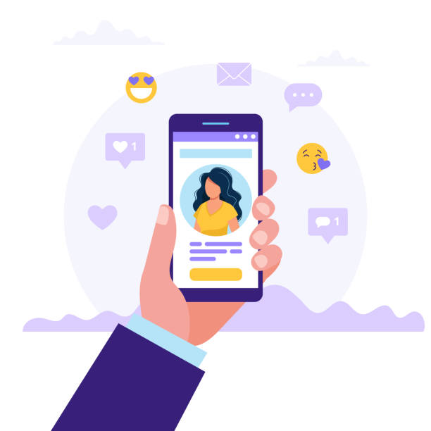 Dating service app, hand holding smartphones with woman photo. Virtual relationship, acquaintance in social network. Vector illustration in flat style vector art illustration