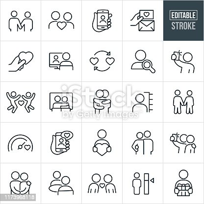 A set of dating and online dating icons that include editable strokes or outlines using the EPS vector file. The icons include a couple holding hands, couple in love, online profile, searching online, online dating using smartphone, love note, heart, love, person on computer, search, selfie, couple at movies, couple hugging, love meter, couple holding each other, couple with arm around shoulder, couple eating together, couple leaning in for kiss and a person giving a gift to name just a few.