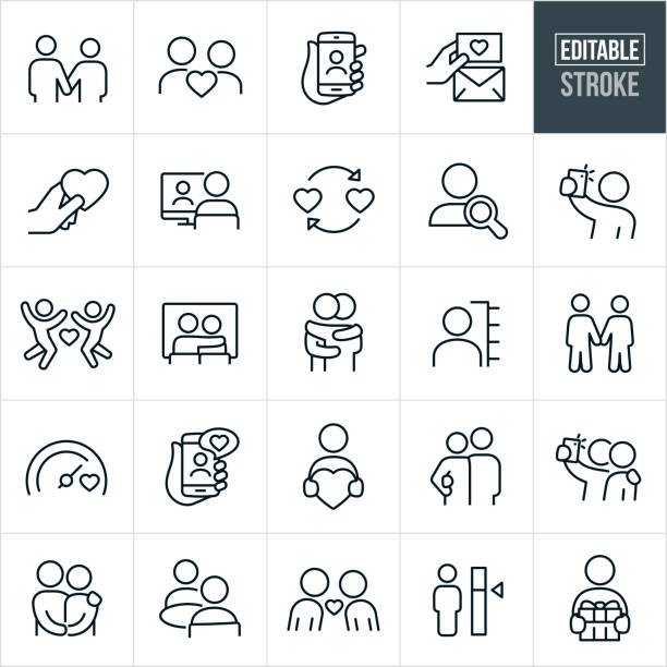 Dating Thin Line Icons - Ediatable Stroke A set of dating and online dating icons that include editable strokes or outlines using the EPS vector file. The icons include a couple holding hands, couple in love, online profile, searching online, online dating using smartphone, love note, heart, love, person on computer, search, selfie, couple at movies, couple hugging, love meter, couple holding each other, couple with arm around shoulder, couple eating together, couple leaning in for kiss and a person giving a gift to name just a few. romance stock illustrations