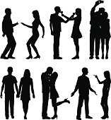 Silhouettes of a couple.