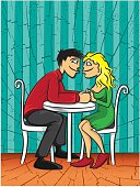 dating young couple Valentine postcard vector illustration