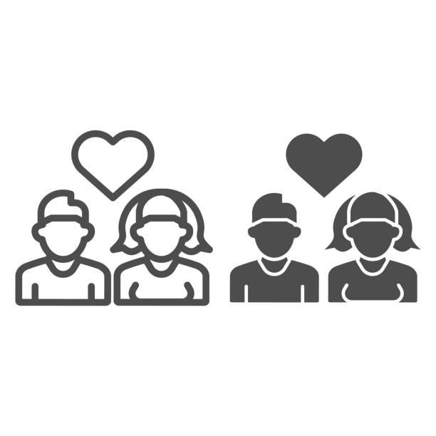 デートの若者のラインと固体アイコン。ハートシンボルを持つ愛のヘテロカップル、少年と女の子、白のアウトラインスタイルのピクトグラム。モバイルコンセプトまたはウェブデザインの� - 妻点のイラスト素材/クリップアート素材/マンガ素材/アイコン素材