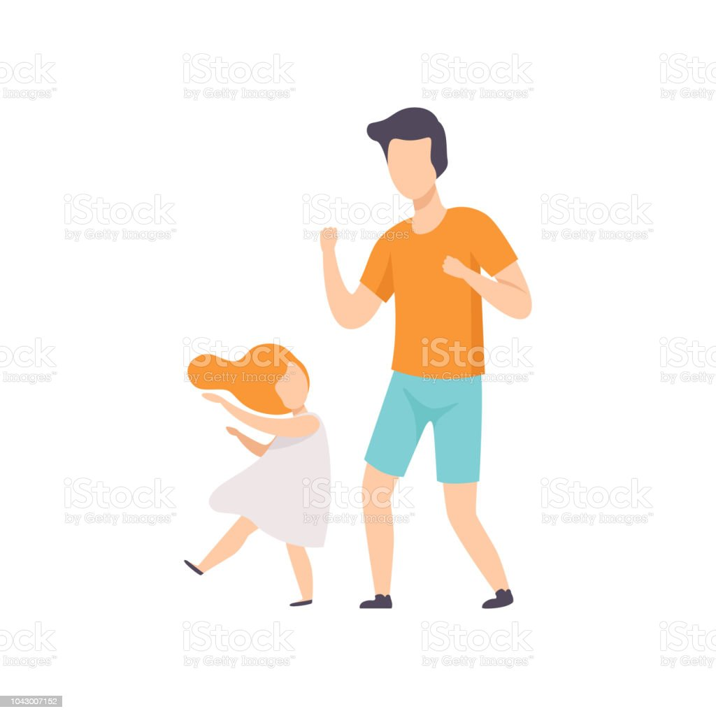 Daughter and dad dancing, little girl having fun with her father vector Illustration on a white background vector art illustration