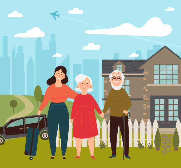 daughter came on her weekend to her parents - old man smiling backgrounds stock illustrations, clip art, cartoons, & icons