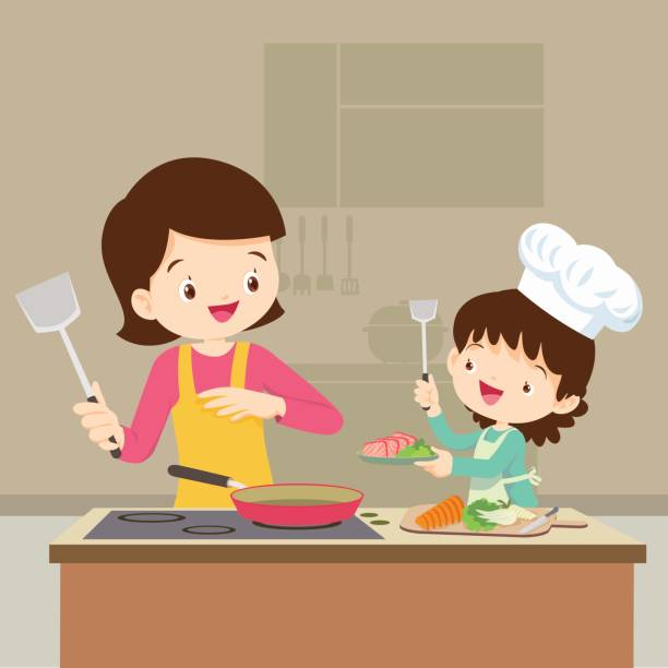 Daughter cooking with mam vector art illustration