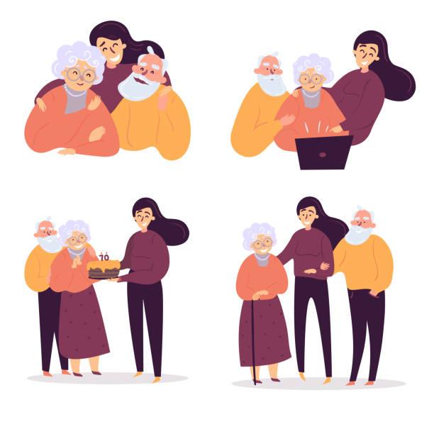ilustrações, clipart, desenhos animados e ícones de a filha ajuda seus pais velhos. aniversário, cuidado. - idoso