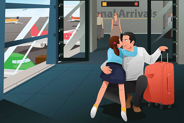 Daughter Hugging Her Father at the Airport – Vektorgrafik
