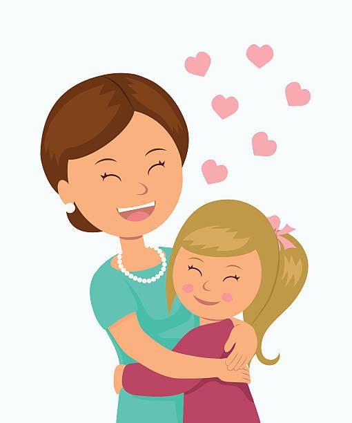 ilustraciones, imágenes clip art, dibujos animados e iconos de stock de hija abrazando a su madre. - hija