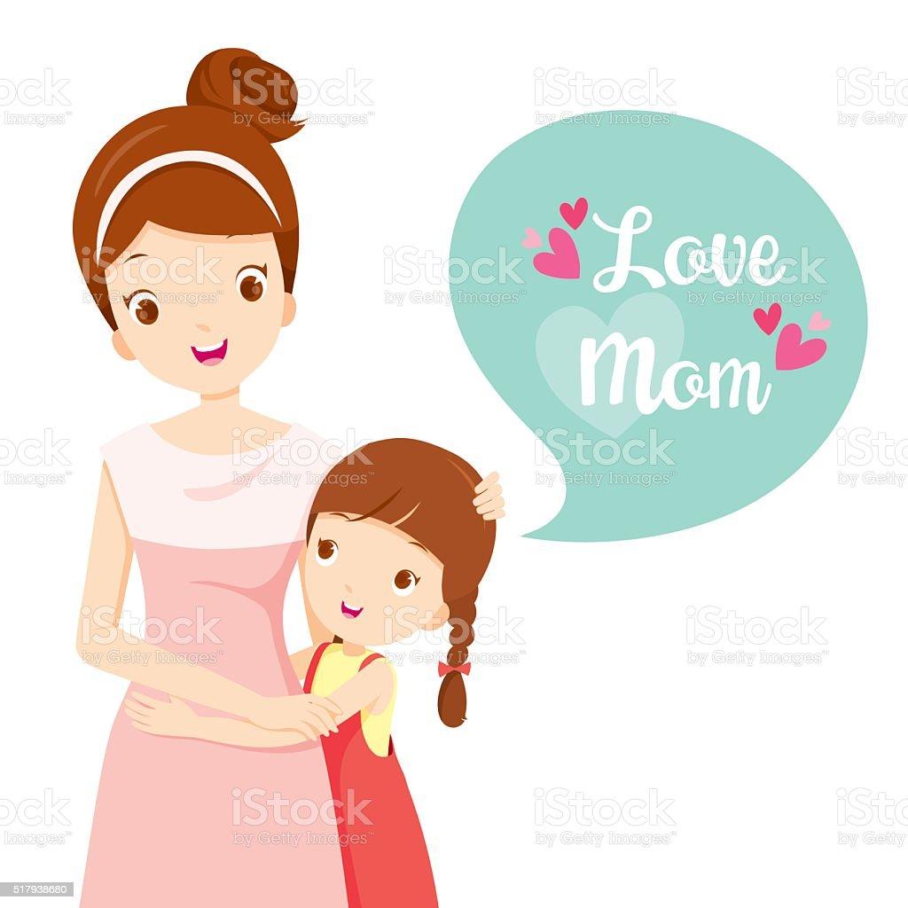 Hija abrazando a su madre - ilustración de arte vectorial